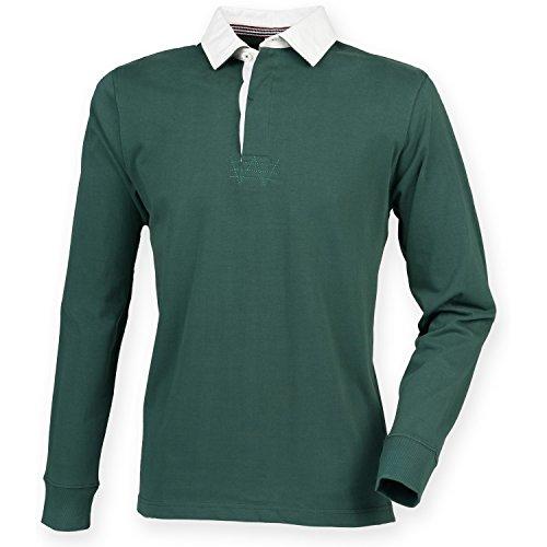 Front Row Herren Premium Longsleeve / Rugby-Shirt / Polo-Hemd, langärmlig Schwarz
