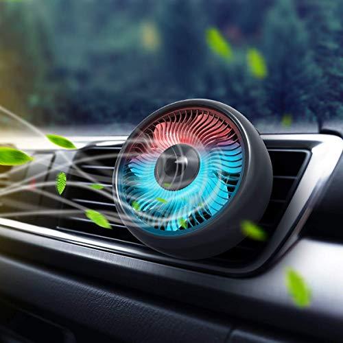Soulq, ventilatore USB per auto, ventola di raffreddamento auto, 3 modalità di velocità, silenzioso e potente ventosa, con luce colorata, mini condizionatore per auto di famiglia/berlina/SUV/b