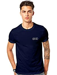 T Shirt - Audi Logo Printed Cotton T Shirt - Luxury Car T Shirt - Navy Cotton T Shirt