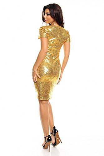edles Paillettenkleid Glitzer Cocktailkleid Abendkleid mit Pailletten bestickt gold S - 4