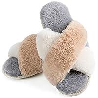 ZIZOR Women's Fuzzy Crossed Memory Foam Open Toe Slippers, Ladies Fluffy Rhinestone Embellished Slip on House Shoes (Grey/Beige, 9.5-10.5)