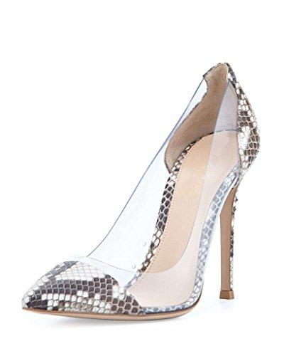 EDEFS Damen Größe Geschlossene Pumps Zehenkappe Transparent Rutsch Stiletto Party Hochzeit Schuhe Snakeskin