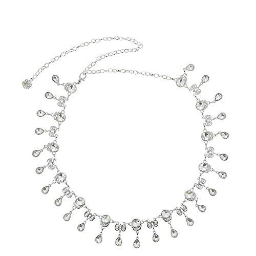 FASHIONGEN - Damen Gürtel Kettengürtel, Anhänger Kette, Gürtelkette verstellbar ALMA - Silber, Einheitsgröße