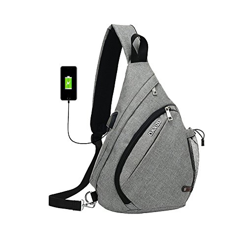 SINOKAL Sling Bag Chest Schulter Rucksack Casual Crossbody Schulter Dreieck Packs Daypacks für Männer Frauen Canvas Digitalkamera Taschen mit Aufladung Port für Sport Outdoor Gym Travel Wandern (Outdoor-gepolsterter Bank)