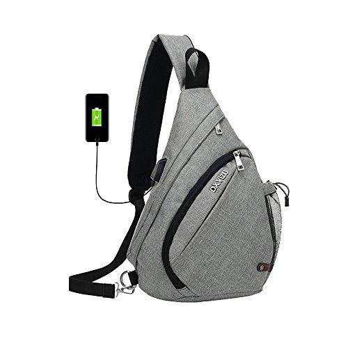 SINOKAL Sling Bag Chest Schulter Rucksack Casual Crossbody Schulter Dreieck Packs Daypacks für Männer Frauen Canvas Digitalkamera Taschen mit Aufladung Port für Sport Outdoor Gym Travel - Schulter-rucksack