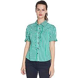 uideazone Mujer Blusas y Camisas Manga Corta Camisas a Cuadros Casual Tops y Blusas Botones para Arriba Camisetas Señoras Camisa de Oktoberfest Carnaval Partido (Verde, M)