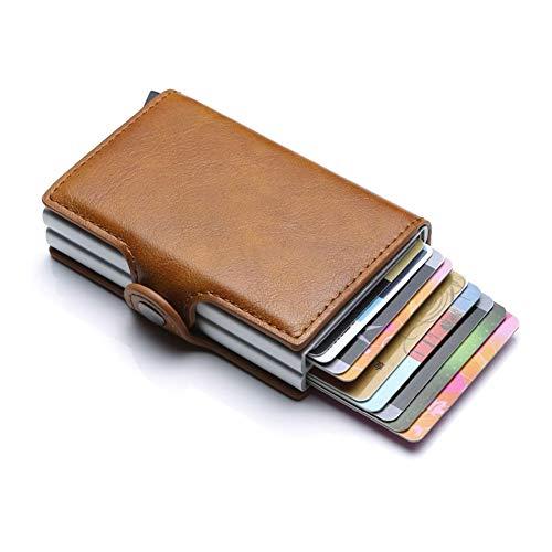 huangThroStore Unisex Leder Geldbörse Business ID Card Case Automatisch RFID Kreditkarten-Halter Leder braun (Business Card Case Frauen)