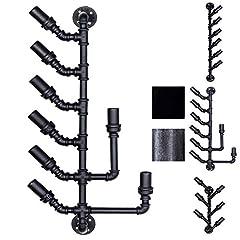 Idea Regalo - CLP Portabottiglie da Parete Design Industriale in Metallo I Supporto Bottiglie da Muro 6-8 Bottiglie Nero 43x17x86 cm