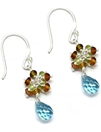 The V Collection Natural Blue Topaz And Citrine And Peridote Gemstone 925 Sterling Silver Awesome Beaded Handmade...