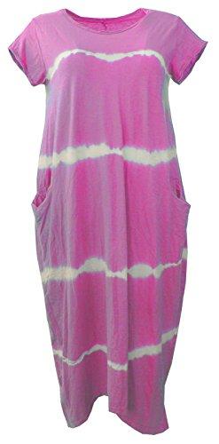 Damen-Frauen Italian Lagenlook Quirky Cap Sleeves Plain Cotton 2 Taschen Lange Tunika Midi-Kleid One Size 34-40 (Baumwolle Tie Dye Cap)