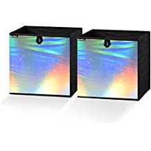 Umi. Essentials Foldable Storage Cube Bins Container Drawer Organizer,10.5(W) x 10.5(D) x 11(H) inches (Holographic Silver, Set of 2)