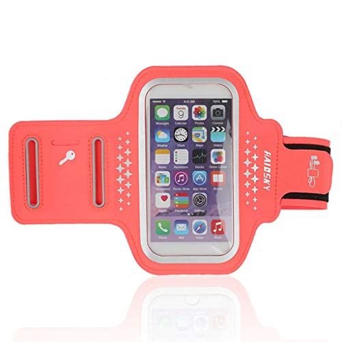 LLF Sports Running Armbands Workout-Handyhalter Mit Earbud-Slot Eingebaute Schlüssel- Und Kartentasche, Bundle Mit Displayschutz (Farbe : Orange, größe : 5.0in)