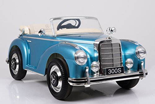 Toyas Mercedes Benz 300s Oldtimer Lizenz Kinderfahrzeug mit 2X 35W Motor Kinderauto Elektroauto Fernbedienung MP3 Anschluss in Blau