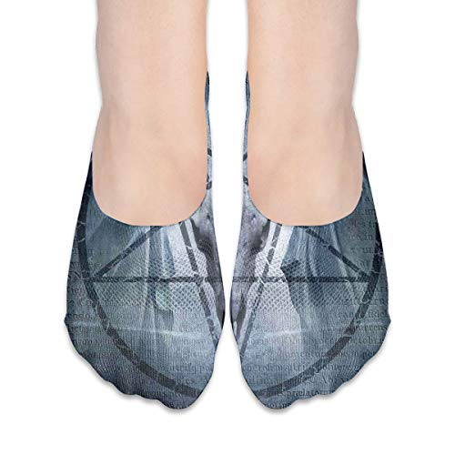 KKAIYA Women & Men Casual Low Cut Boat Sock invisible socks,Artwork With Pentagram Icon Goat Skull Devil Dream Hooded Figure Exorcist Image,Cotton Casual Athletic Socks,Blue Cute Devil Girl