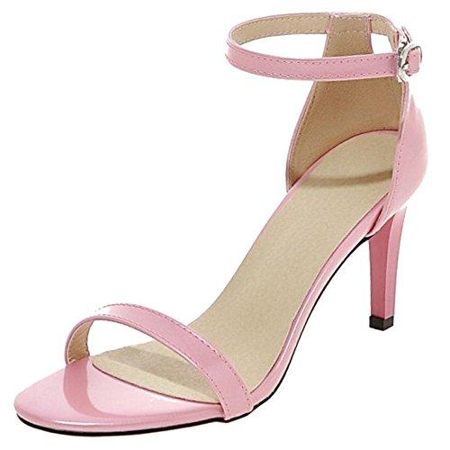 COOLCEPT Femmes Mode Strappy Chaussures Orteil ouvert Sangle de cheville Talon Aiguille Sandales Rose