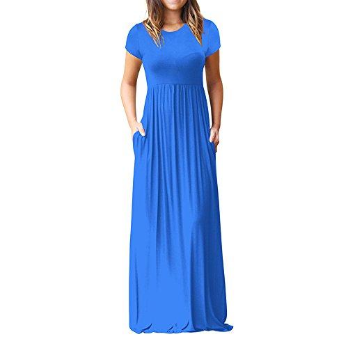 VJGOAL Damen Kleider, Frauen Elegant Lose Freizeit Kleiden Sommer Volltonfarbe Mode Maxi Hohe Elastizität Abendkleid ()