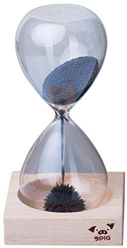 Grinscard Reloj de arena con imán Boca voladora con soporte de madera - Transparente, tiempo de funcionamiento 30 seg. Reloj de arena como una idea de regalo