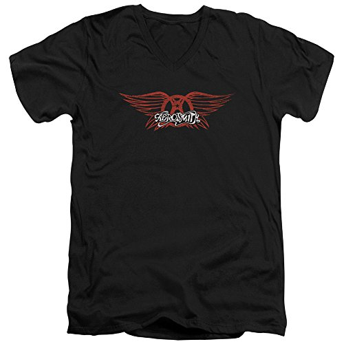 Aerosmith-Winged Logo-Maglietta con scollo a V, da uomo nero Medium