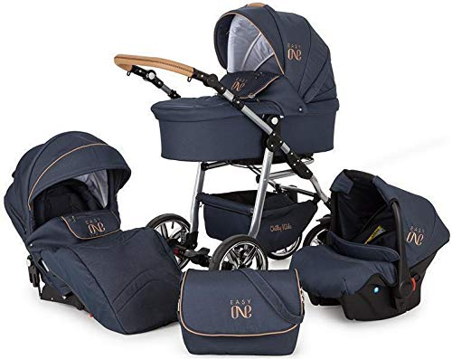 Lux4Kids Kinderwagen 3 in 1 Kombi-Kinderwagen Komplettset mit Autositz Easy One Blau & Jeans