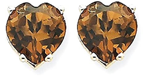 IceCarats 14kw 7mm Heart Smoky Quartz Earrings