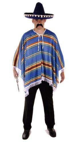 NEW BLUE MEXICAN PONCHO WILD WEST FANCY DRESS COSTUME (disfraz)