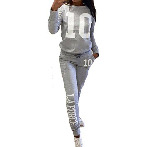 Jogginganzug Damen Trainingsanzug Weich Sportanzug - Hibote Bequem Langarm Pullover + Hosen 2 Stück Kleidungset Fitnessanzug Yoga Änzuge Sport Sweatshirt Hosen (Langarm Trainingsanzug)