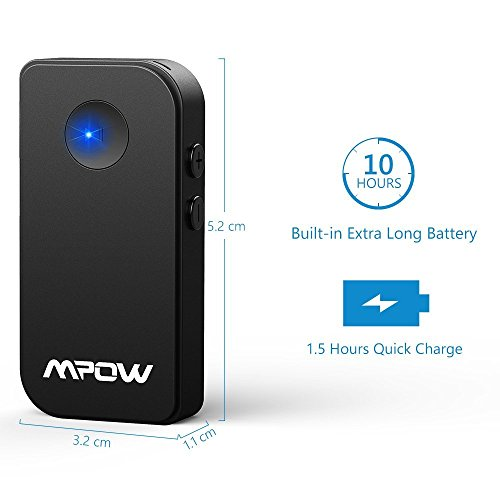 Bluetooth Receiver, Car Kits (15 Hour Streaming, Latest Bluetooth 4.1, Hands-free Calling, A2DP, CVC Noise Cancelling) Mpow Portable Wireless Audio Aux Bluetooth Receiver Adapter for Home & Car Audio with 3.5 mm Stereo Output 【New Version】