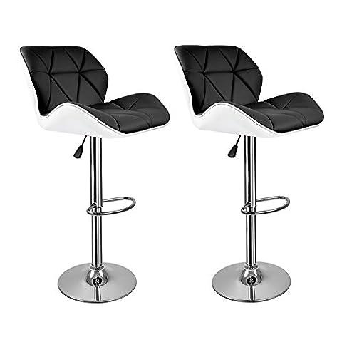 【Cadeau pour la famille】 Hollylife 2x Tabourets de bar ajustable Tabouret moderne stools à la cuisine en faux cuir Nouvelle chaise PU Cuir - Noir+Blanc