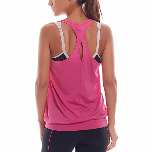 SYROKAN Damen Sport T-shirt Tank Top - Ringerrücken Gym Elastische Fitness Magenta