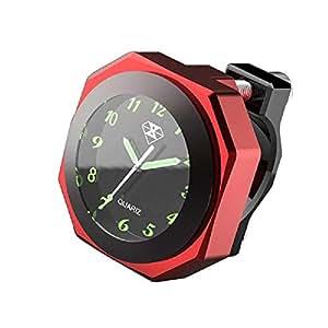 Yiwa Motorbike Clock Waterproof,Motorcycle Handlebar Clock,Luminous Alloy Clock Time Gauge Cool Styling Clock Decoration red