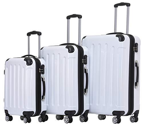 BEIBYE- 3er Kofferset Hartschalen-Koffer Reisekoffer Trolley Rollkoffer Set Reisekofferset (Weiss)
