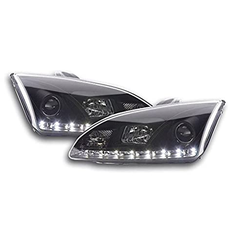 FORD FOCUS MK2 2004-2008 BLACK DRL DEVIL EYE LED R8 STYLE HEADLIGHTS HEADLAMPS