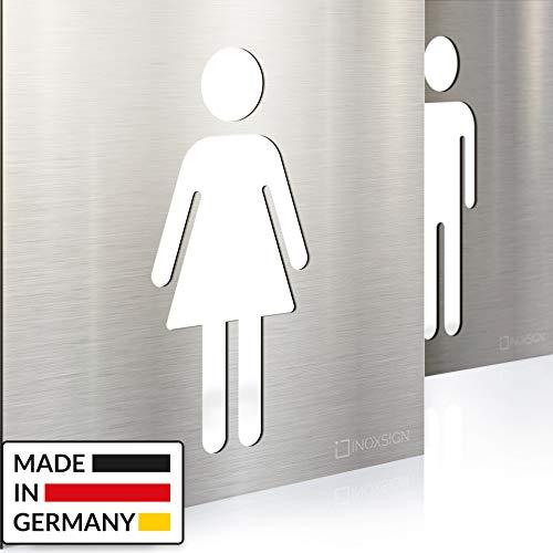 INOXSIGN Edelstahl WC-Schilder Set - selbstklebend & pflegeleicht - Design Toiletten-Schilder - T.06.E