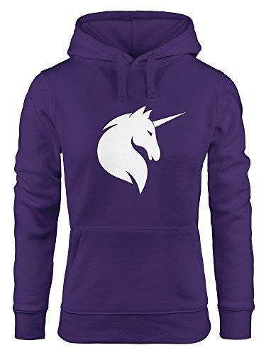 Hoodie Damen Einhorn Unicorn Sweatshirt Kapuze Kapuzenpullover Moonworks® lila XS