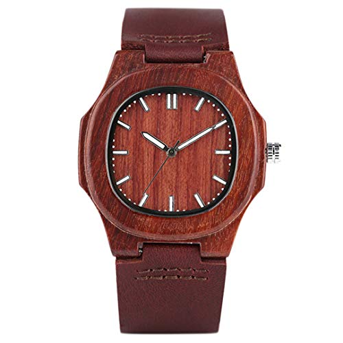 Spezielle Natur Holz Uhren FüR MäNner Viereckige Form Aus Echtem Leder Freizeit Sport Holz Armbanduhren Mann Ehemann Geschenke 4