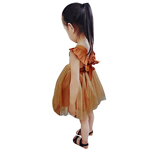 Belle belle enfants Kid filles solide ruché sangle Backless Net fil princesse robe vêtements 12 M-4T (Orange, 3T)