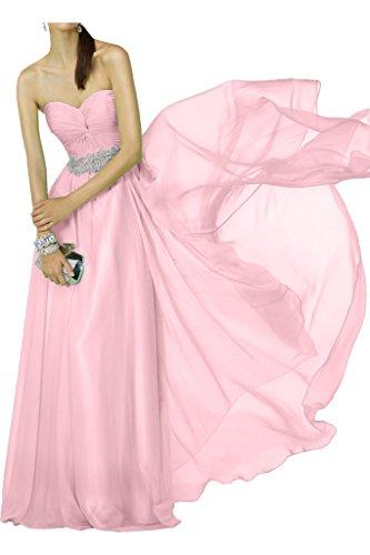 Victory Bridal Einfach Chiffon Traegerlos Brautjungfernkleider Abendkleider Partykleider Lang A-linie mit Pailletten Rosa