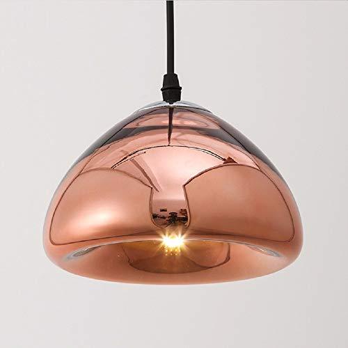 LiBai L Motent Vintage Dome Shape Glas-Kronleuchter, Hängelampe in plattierter Ausführung, Kopfform Deckenleuchte, Einzelkopf-Droplight-Leuchte für Küchenlounge -