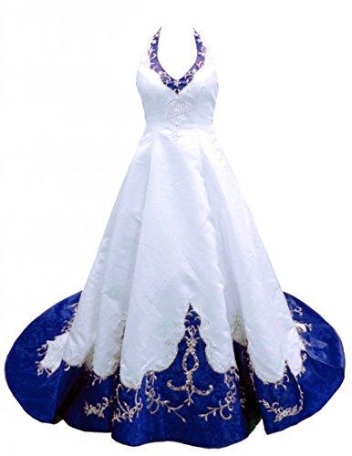 Zorayi Damen Vintage Halfter Stickerei Satin Hochzeitskleid Brautkleider Weiß & Blau Größe 60