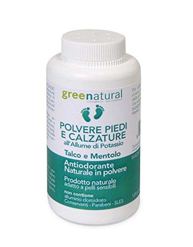 Polvere per i piedi e calzature allume di potassio talco e mentolo/ deodorante