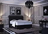 HG Royal Estates GmbH Baron Luxus Chesterfield Boxspringbett mit Bettkasten inkl LED Beleuchtung, Visco Topper, 7 Zonen Taschenfederkernmatratze, H3 Schwarz Stoff 180x200 cm