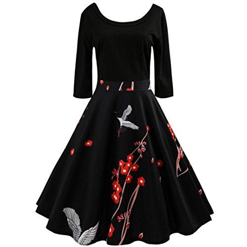 ESAILQ Damen Mode GS-Fashion Leinenkleid Damen Sommer mit Spitze am Rücken Kleid...
