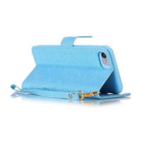 iPhone Case Cover Fleurs pressées Solid Housse en cuir couleur PU avec étui Wallet Dragonne pour IPhone 7 ( Color : Red , Size : IPhone 7 ) Blue