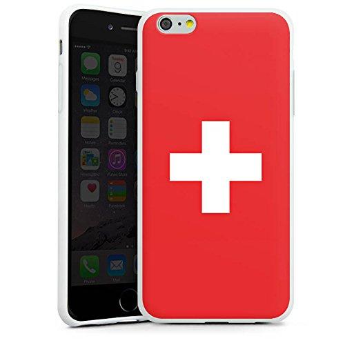 Apple iPhone 6 Silikon Hülle Case Schutzhülle Schweiz Flagge Switzerland Silikon Case weiß