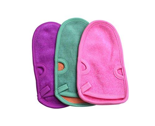 Upstore 3 pcs 20,8 x 11,4 cm Dos frottements Gants Bain Douche Gants exfoliants Serviette de massage Loofah Exfoliant Spa Gant de toilette pour mixte enfant Adulte (couleur aléatoire)