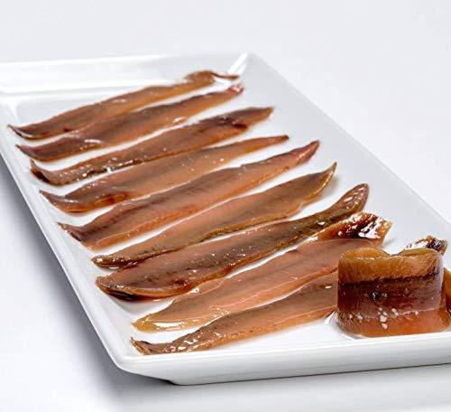 Latta 30 Filetti serie DOPPIO ZERO di acciughe/alici pescate nel MAR CANTABRICO, Olio di Oliva, 350g prodotte da Salanort sono le preferite dai migliori ristoranti del MONDO, pulite a mano senza spine