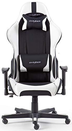 DX Racer6 Gaming Stuhl, Schreibtischstuhl, Bürostuhl, Chefsessel mit Armlehnen, Gaming chair, Gestell Kunststoff, 78 x 52 x 124-134 cm, Kunstleder PU schwarz / weiß - 3