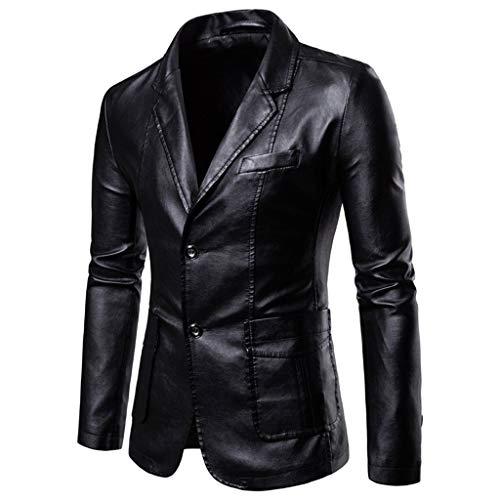 Luckycat Hombres Cuero Chaquetas De Traje Y Americanas Informal Business Casual Blazer Slim Fit Chaquetas...