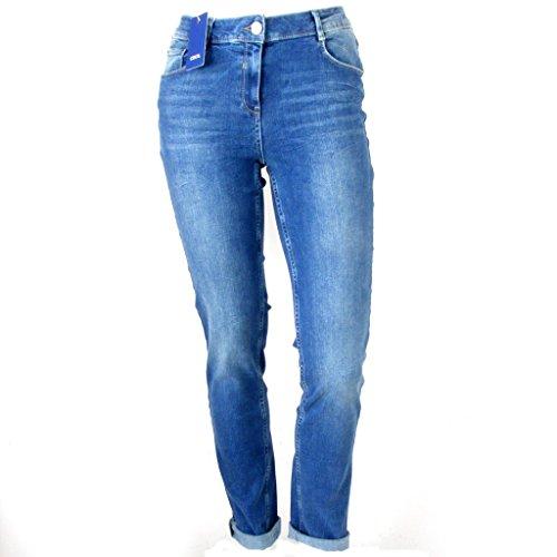 Cecil Damen Jeans Toronto Regular Fit Blue Washed 5-Pocket High Waist 34630, Größe:34W x 30L