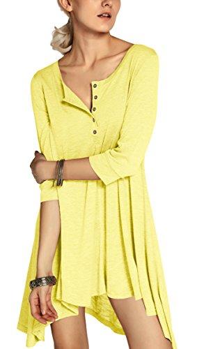 Urbancoco Damen kurz Ärmelige button down Asymmetrisch T-Shirt Sommer Tunika (XXL, gelb)
